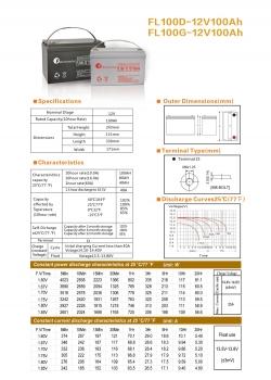 solarna baterija FL-100D, 12V 100Ah